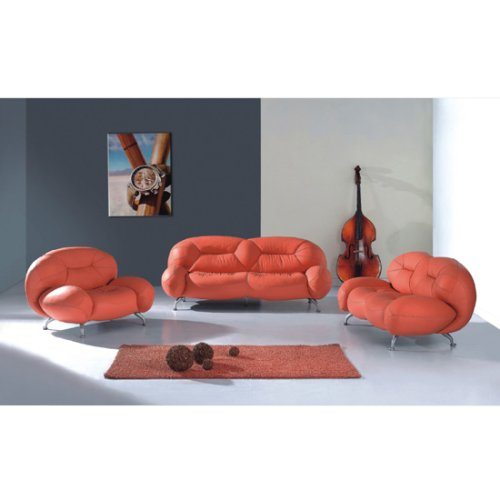 Exclusive Modern Leather Red 3pc Living Room Set, (FREE SHIPPING)