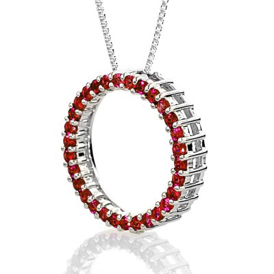 Sterling Silver Created Ruby Circle Pendant with Chain 18\
