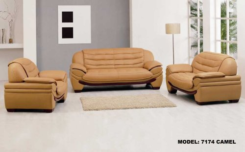 3ps NEW CONTEMPORARY ITALIAN LEATHER SOFA SET-7174CARAMEL