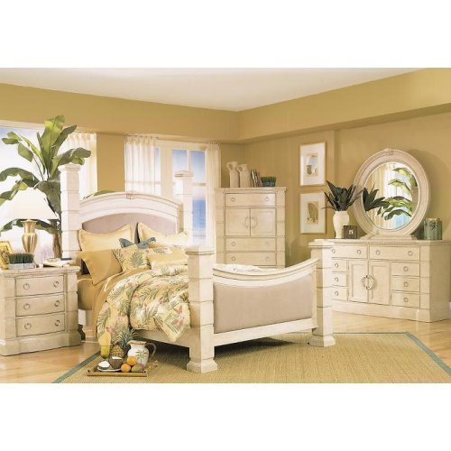 Home Office Furniture Palladian White Wash Poster 5 Pc Queen Bedroom