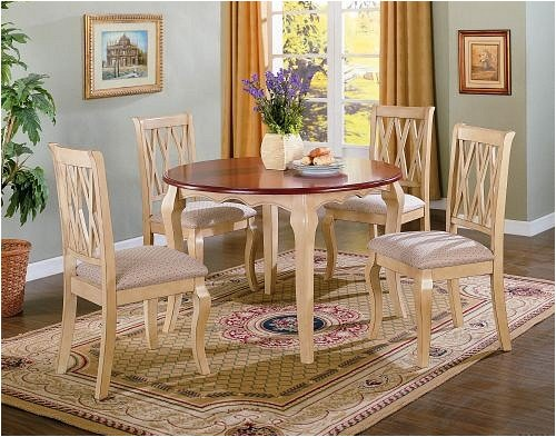 5pc Cottage Buttermilk & Oak Finish Round Dining Table & Chair Set