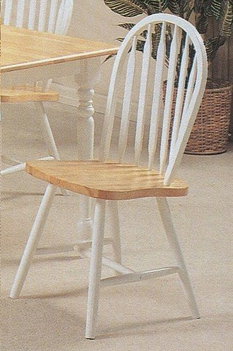 Set of 4 Natural & White Finish Arrow Back Windsor Wood Dining Chairs