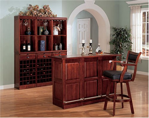 Cherry Finish 3 Piece Bar Set By Coaster Furniture