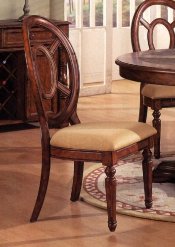 Set of 2 Distressed Brown Wood Finish Dining Chair