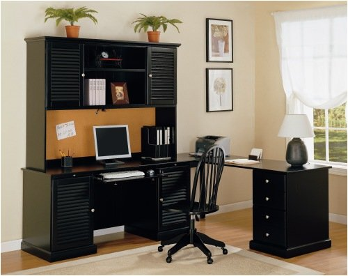 4 Piece Workstation In Black Finish