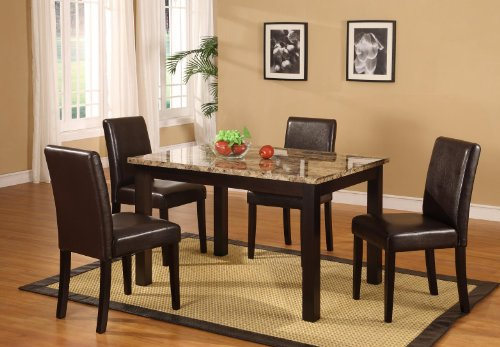 5 Pc Dark Artificial Marble Top Dinette Dinning Set ( Table & 4 Chairs)