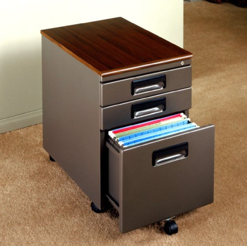 Office Line 3-Drawer Mobile File Cabinet In Pewter/Rosewood Finish By Studio RTA Furniture