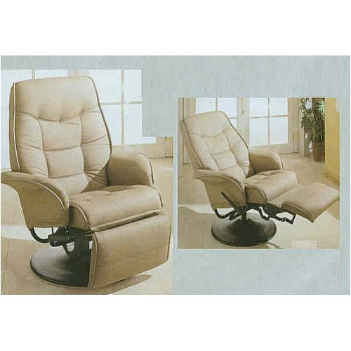 Modern Style Taught Pulled Bone Leatherette Fabric Cushion Swivel Recliner with Tilt Back Function