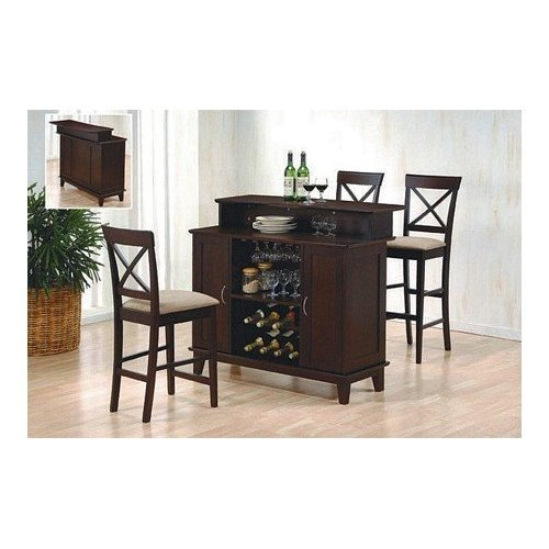 Contemporary Style Deep Cappuccino Finish Solid Wood Bar Unit with Wine Rack