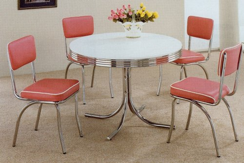 5pc White & Chrome Retro Round Table & Rose Chairs Set