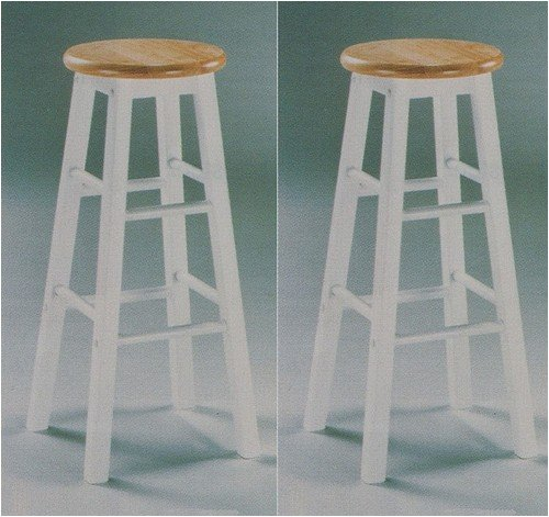 Set of 2 Country Style White and Natural Finish Solid Wood Bar Stools 29inch H