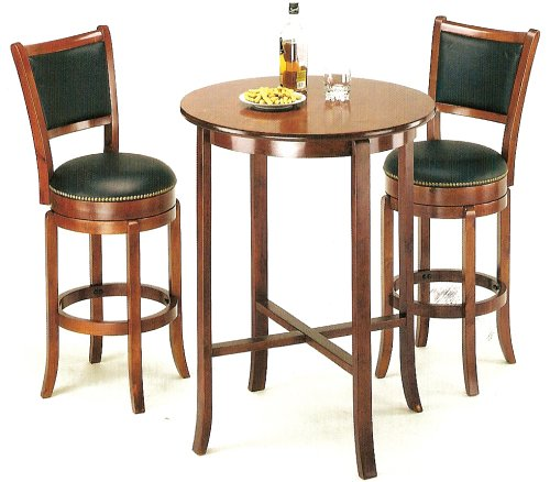 York Cherry Pub Table Set with 2 Leather Chairback