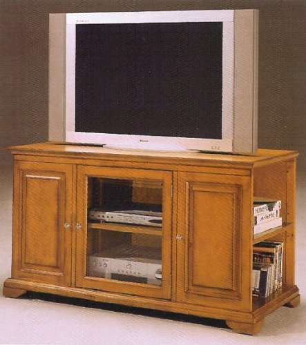 Oak finish wood TV / Plasma / LCD cabinet stand entertainment center with burnish finish
