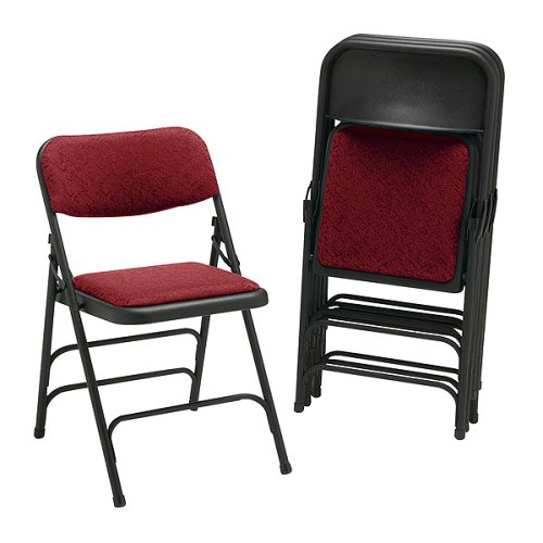 2900 Series Upholstered Folding Chairs - Burgundy (Set of 4)