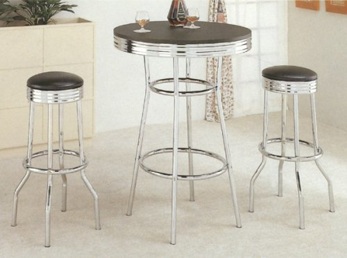 3pcs Retro Fountain Style Black & Chrome Finish Bar Table & 2 Stool Set