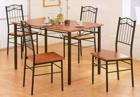 5pc Dirty Oak Finish Wood & Metal Dining Table & 4 Chair Set