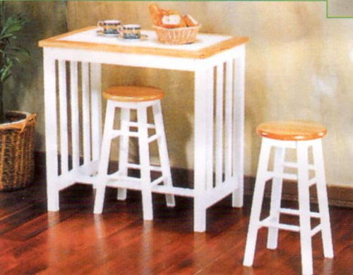 WHITE TILE TOP MISSION BREAKFAST TABLE W. 2 BAR ST