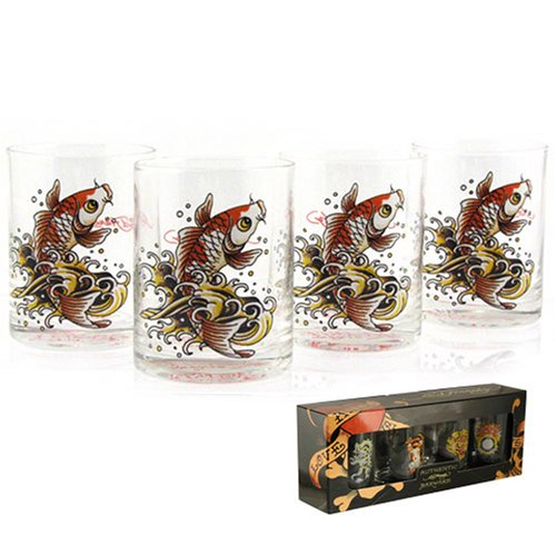 New Officially Licensed Newly Don Ed Hardy Gold Koi Fish DOF Glass Set