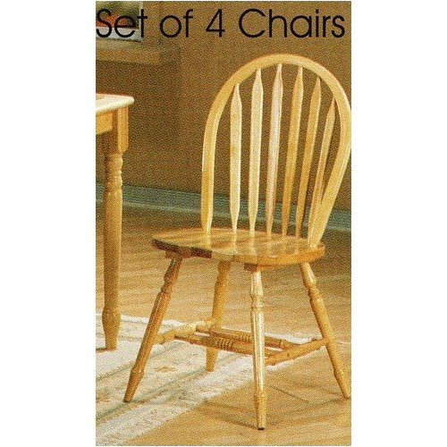 Set of 4 Natural Finish Windsor Dining Side Chairs