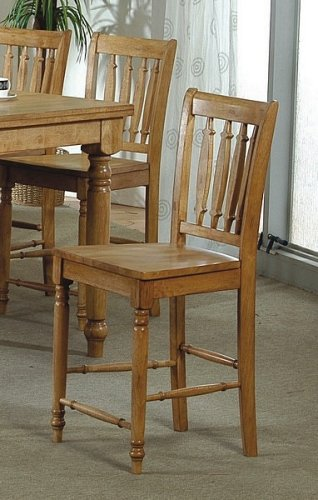Set of 2 Medium Brown Finish Solid Wood Counter Height Chairs Bar Stools