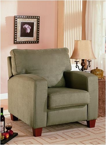 Contemporary Style Olive Green Microfiber Sofa Chair w/ Wood Legs