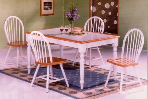 BEAUTIFUL WHITE TILE TOP TABLE W. 4 WINDSOR CHAIRS