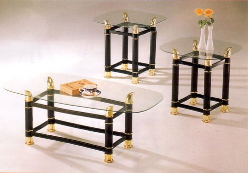 BEAUTIFUL BLACK and GOLD FINISH 3PC COFFEE /END TABLE SET