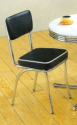 Set of 2 Retro Nostalgic Style Black Finish Dining Chairs