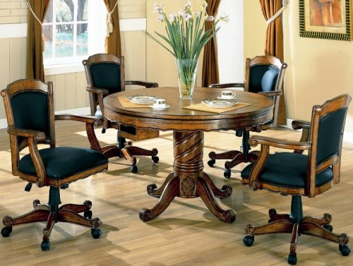 3-in-1 Solid Oak Wood Poker, Pool, Game, Dining Table and 4 Chairs Set