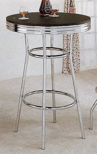 Retro Soda Fountain Style Bar Table w/Chrome Plating and Black Top 