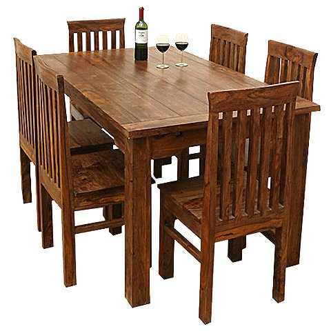 7 Pc Solid Wood Mission Kitchen Dining Table Set Furniture