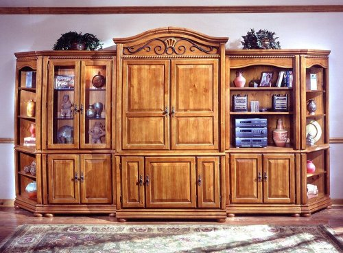 Waxed Pine Entertainment Center Set 2 - Wood Furniture - 1599-ENTCEN-SET-2