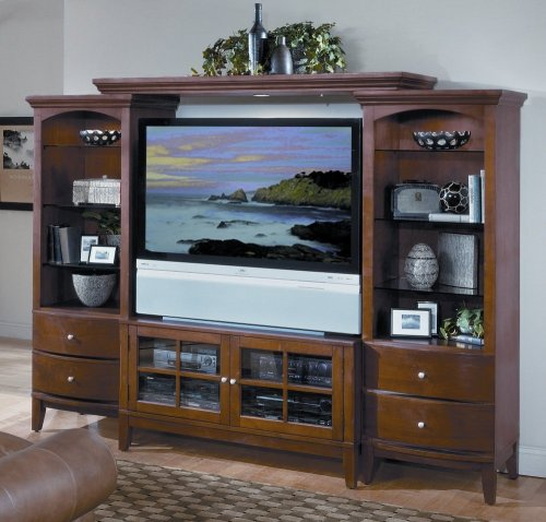 Entertainment Center Furniture - Spectrum 4pc Entertainment Center Set in Cherry - Encore Home Entertainment