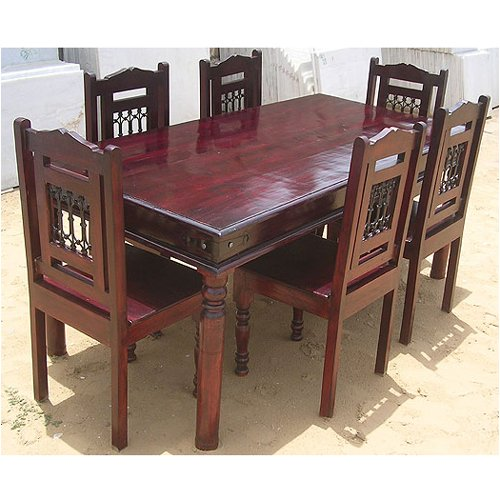 7pc Solid Wood Cherry Kitchen Dining Table Furniture Set 