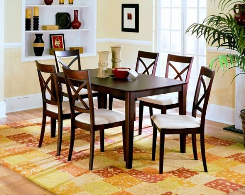 7pc Vermont Collection Solid Wood Dining Table and Chairs Set