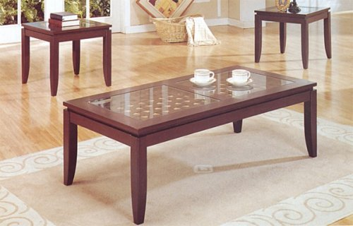 3PCS Contemporary Coffee and End Table Set w/Glass Insert