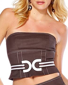 bebe.com : Contrast Stitching Stretch Linen Bustier :  contrast apparel design designer