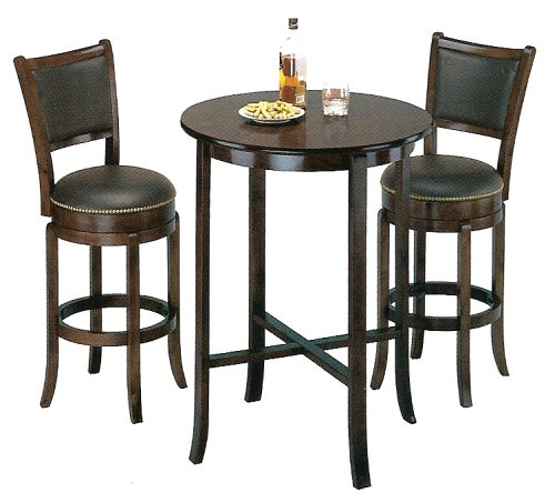 York Espresso Pub Table Set with 2 Leather Chairback Swivel Bar Stools