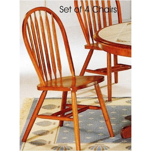 Set of 4 Oak Finish Windsor Dining Side Chairs