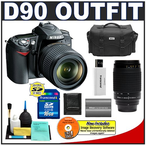 Nikon D90 Digital SLR Camera with 18-105mm AF-S DX VR Nikkor Lens [Outfit] + Nikon 70-300mm Lens + 16GB Cameta Bonus Accessory Kit