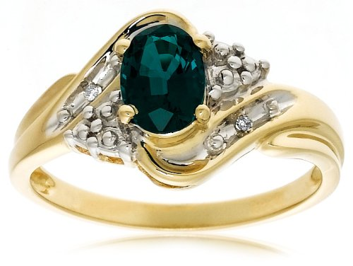 10k Yellow Gold Lab-Created Emerald Ring w/ Diamond Accent, Size 7