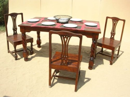 7pc Solid Wood Mahogany Dining Kitchen Dinette Table Furniture Set 
