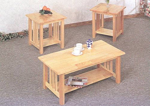 3pc Mission Style Light Oak Finish Wood Coffee and 2 End Tables Set