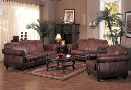 Covington Leather Living Room Set