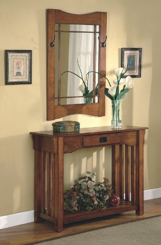 2pcs Mission Style Entry Way Foyer Console Table & Mirror Set