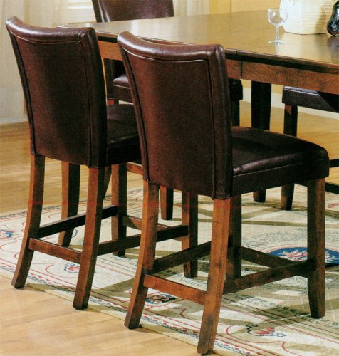 Set of 2 24 inch H Soho Brown Leather Counter Height Barstools