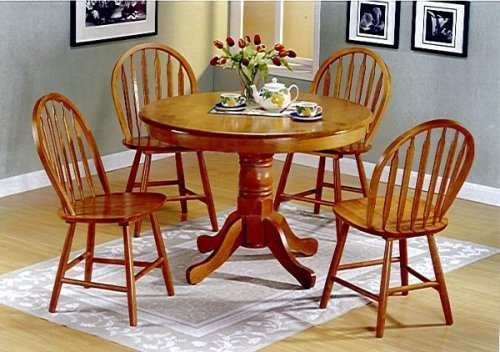 5pc Country Style Oak Finish Wood Round Dining Table +4 Windsor Chair Set