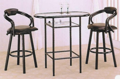 3 pc black finish bar table set