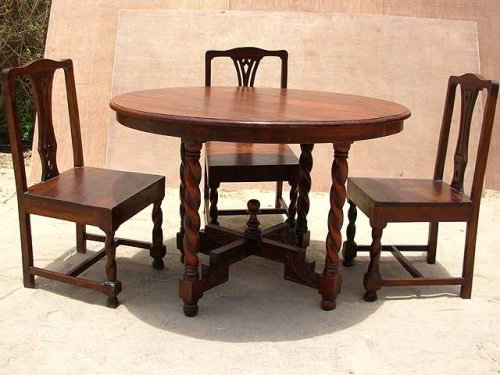 5 pc Solid Wood Round Dining Breakfast Kitchen Dinette Table Furniture