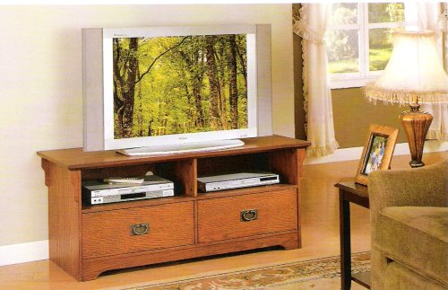 Oak finish wood mission style TV / Plasma / LCD stand entertainment center